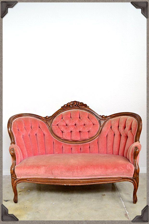 Vintage Settee Antique Pink Velvet Sofa In The Pink Pinterest
