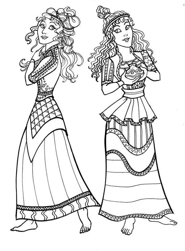 Ancient Minoan Dresses by GingerOpal.deviantart.com on