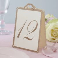 Heart Wedding Table Numbers Ivory / Gold
