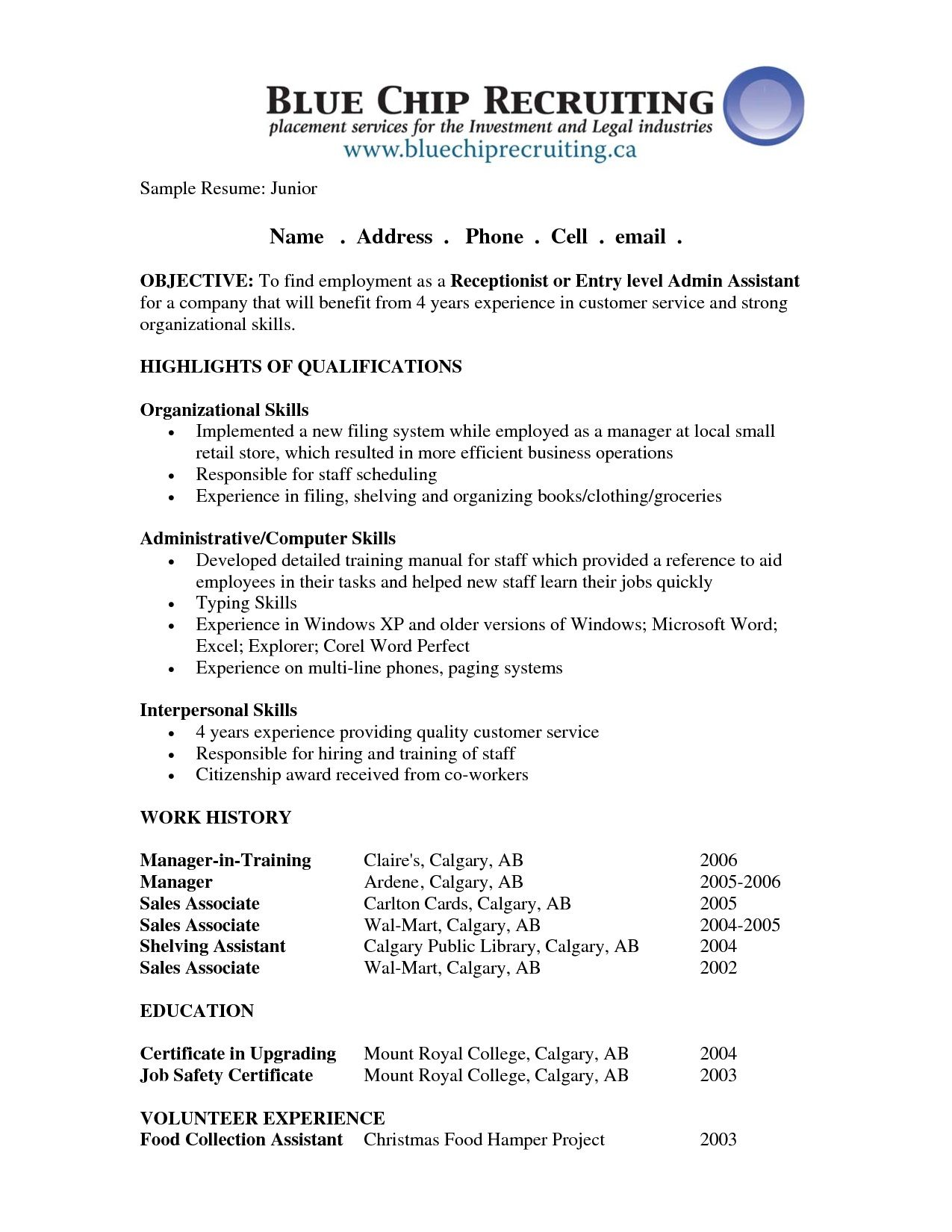 Resume Objective Examples For Receptionist Position Examples Of