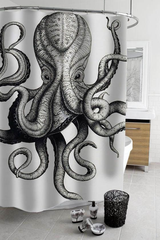 octopus shower curtain by stacygood4 on Etsy  shower curtain  Pinterest  Octopus shower