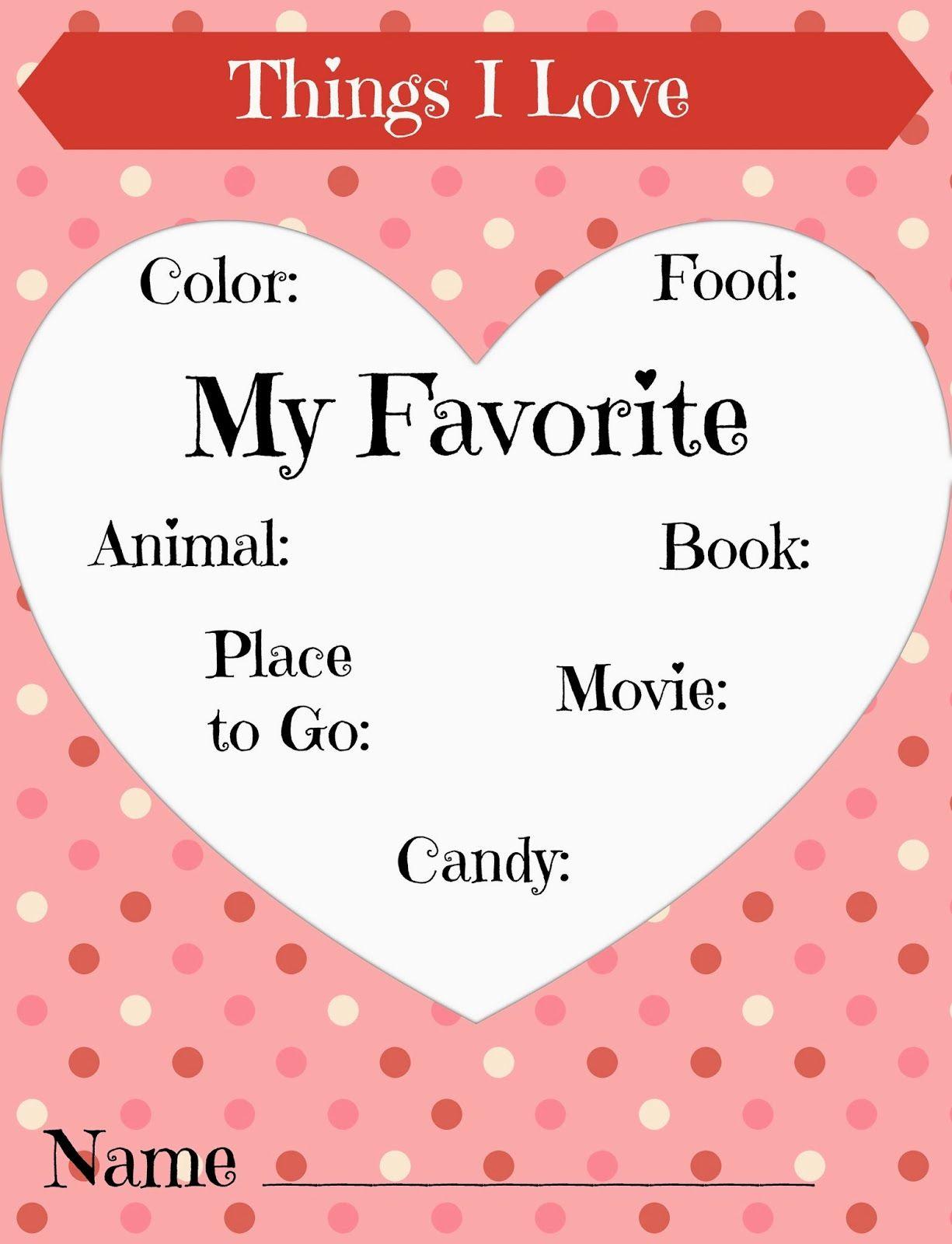Preschool Things I Love Worksheet