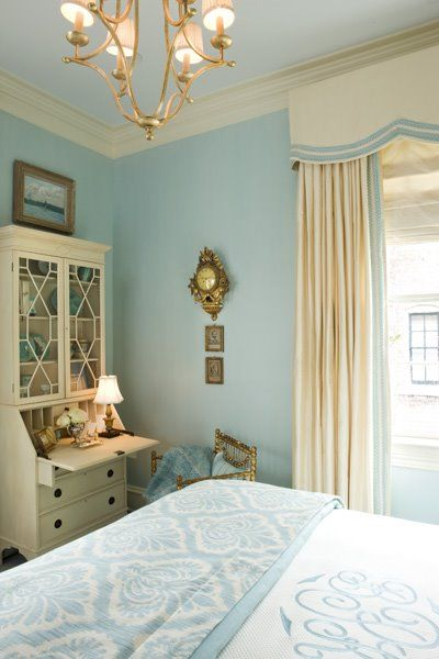 blue and cream bedroom Inspiration: Serene Bedroom from 2008 DC Design House   French bedrooms, Damask bedding and Cream
