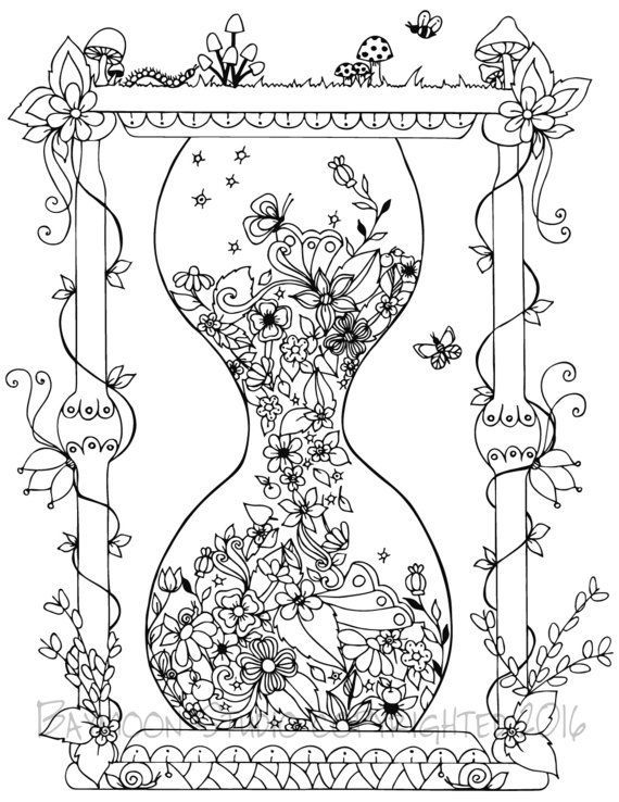 Garden Hourglass Coloring Page, Printable Coloring Pages