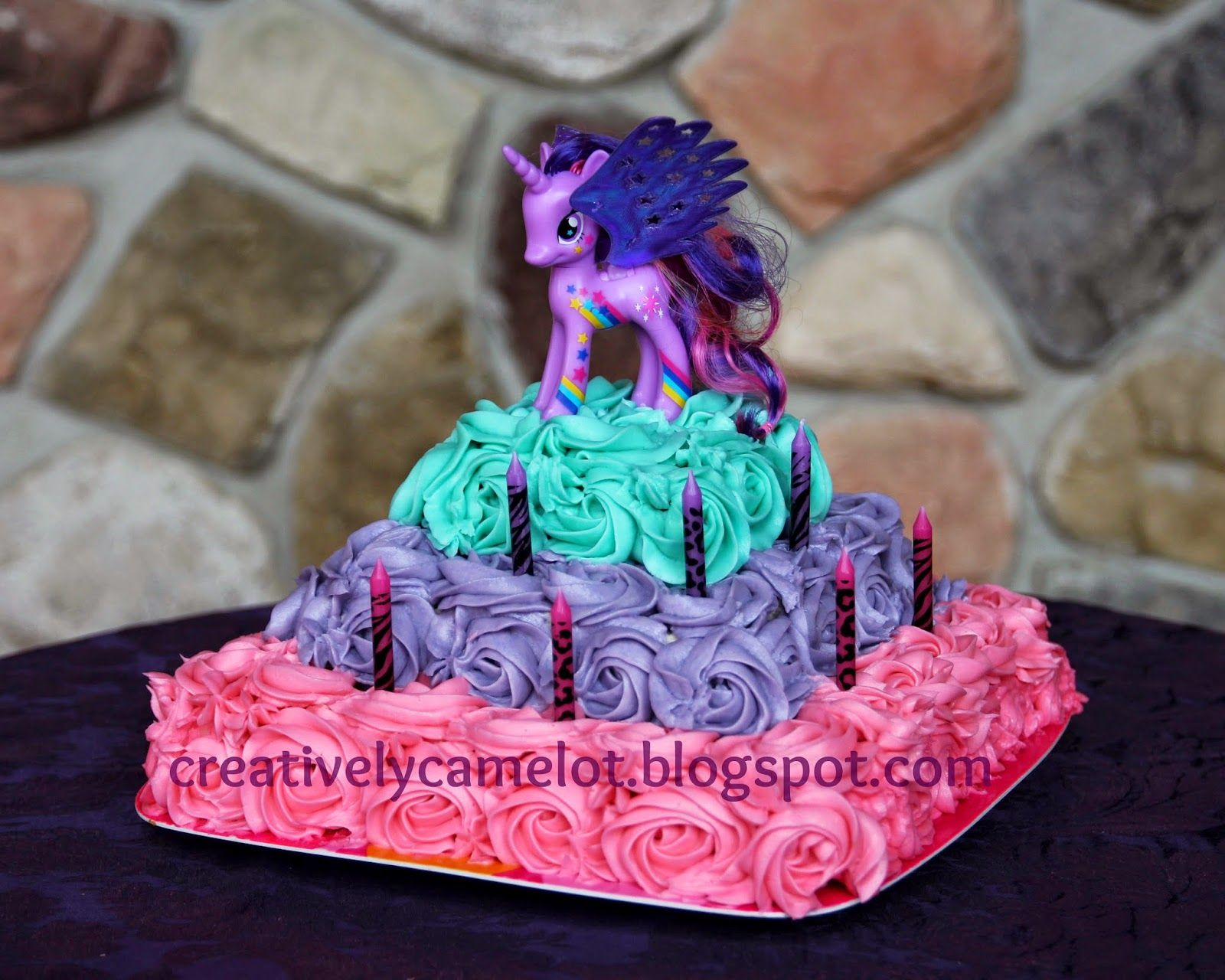 A Twilight Sparkle Tiered Rose Birthday Cake