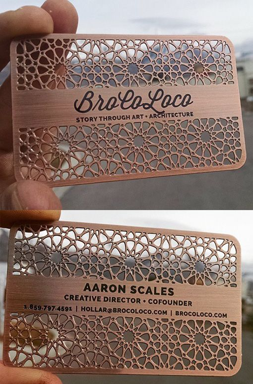 Intricate Laser Cut And Etched Metal Business Card For An