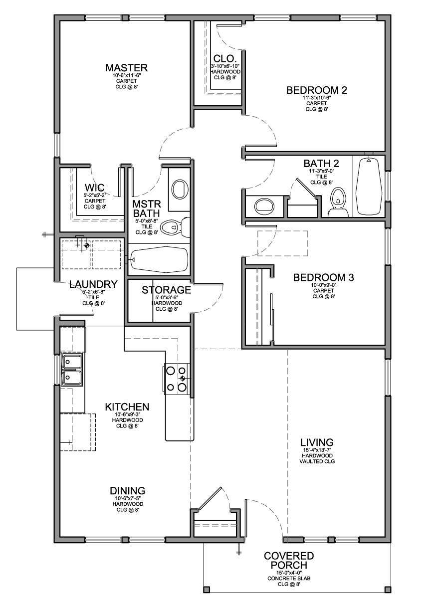 Floor Plan for a Small House 1150 sf with 3 Bedrooms and 2 Baths  For Christy  Pinterest