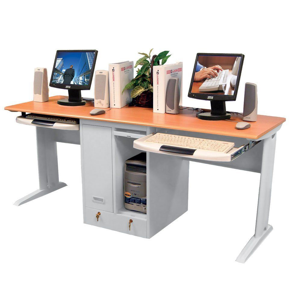 Childrens Computer Desk For Two with locking CPU shelves