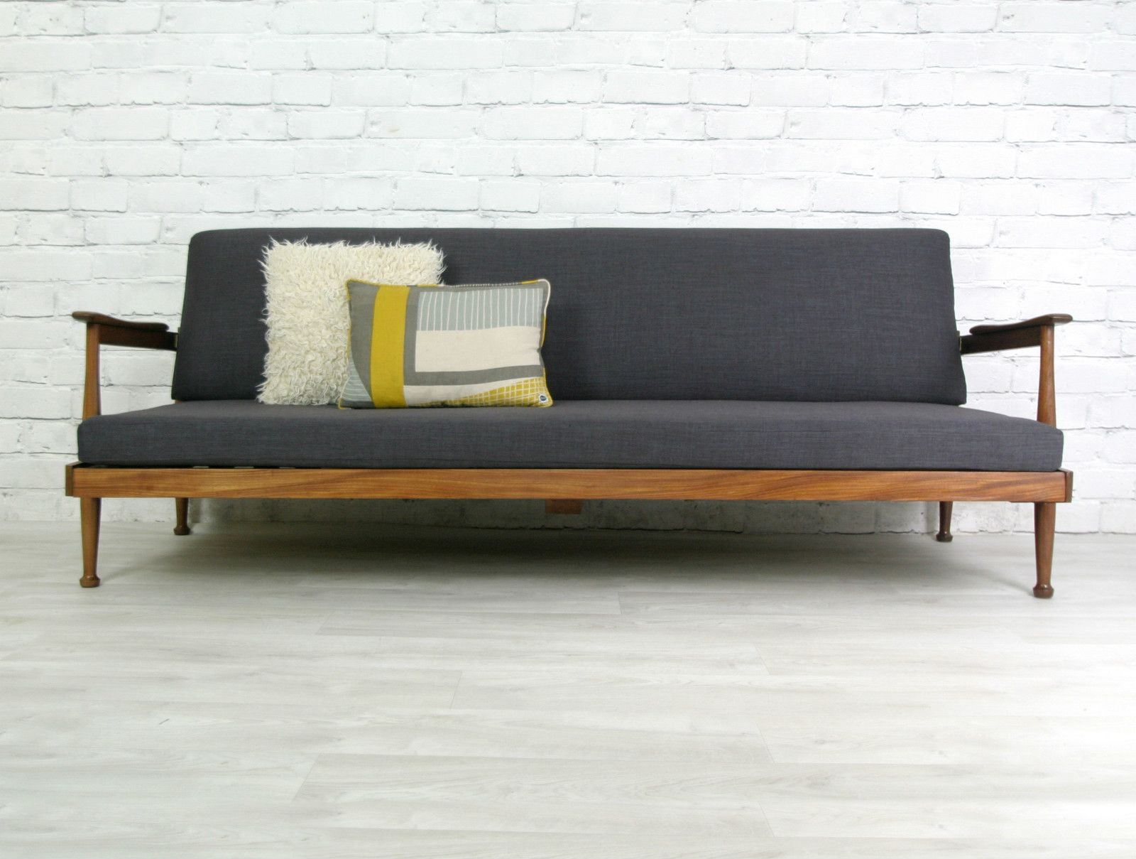 vintage retro style stunning patchwork sofa bed sears sleeper guy rogers teak mid century danish