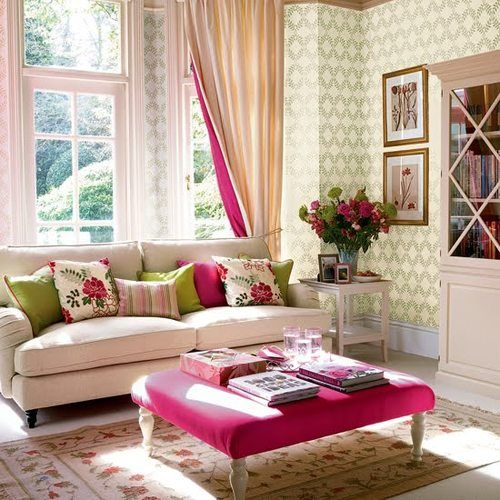 Sitting room off bedroomeen and pink with  little bit of yellow this pulls it well is the green balance colors also great color combo family living dining areas pinterest bright rh