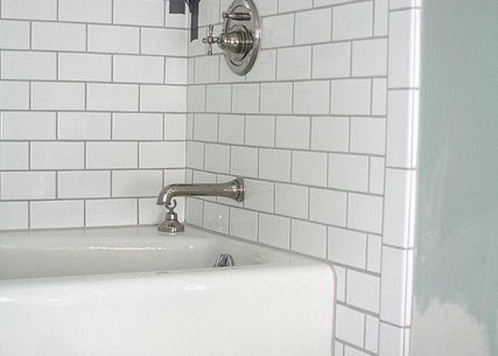 Good example of white subway tiles with preferred grey grout for our kitchen splashback the also au