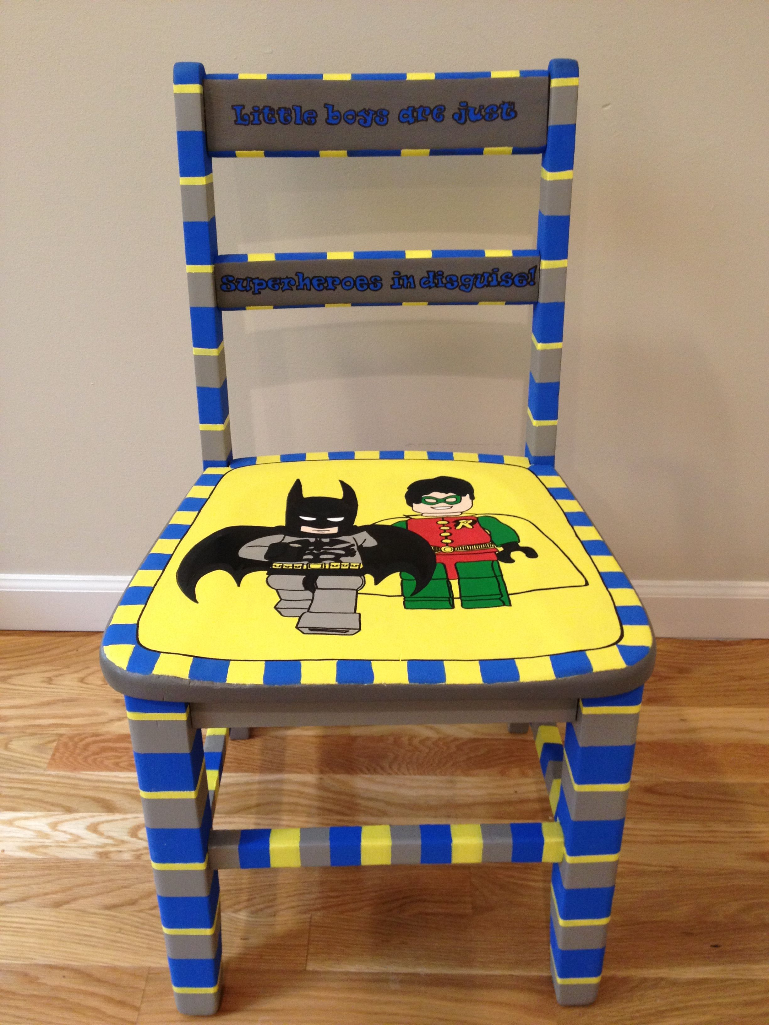 little boy chairs zero gravity lawn chair lego batman and robin hand painted child 39s