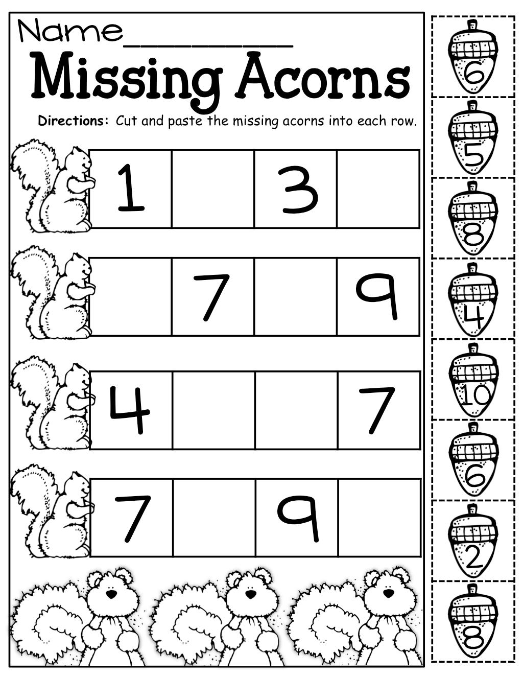 Missing Acorns Cut And Paste