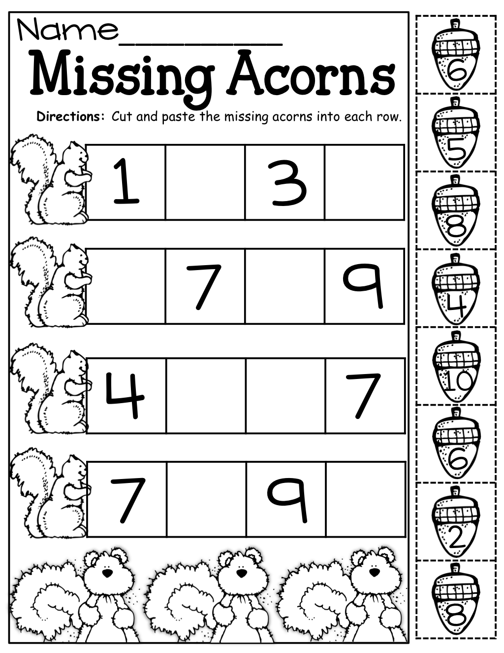 Missing Acorns Cut And Paste
