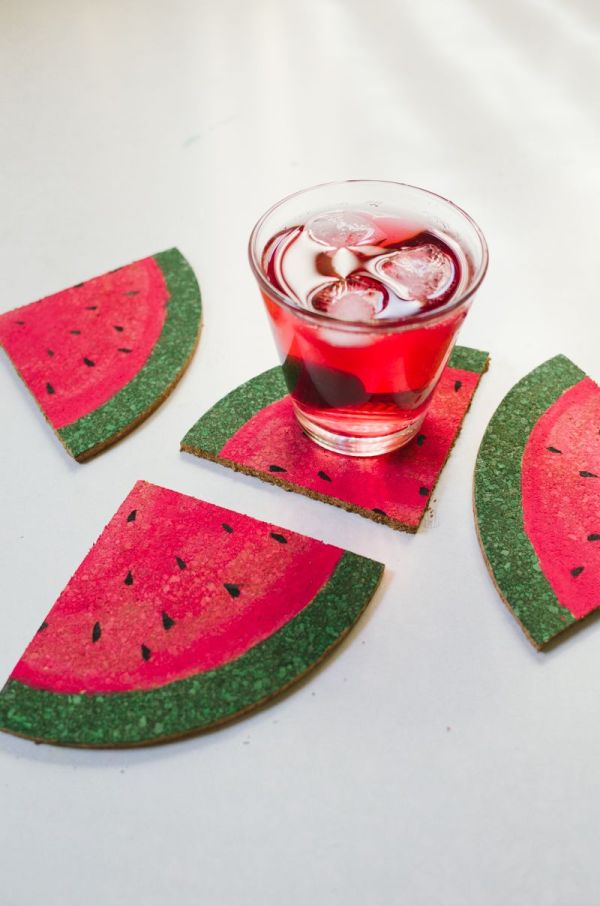 Diy Sliced Watermelon Coasters Craft Summer And Super Easy