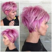 bubblegum pink hair color and messy