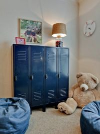 Love these blue lockers! So great for organizing a kids ...
