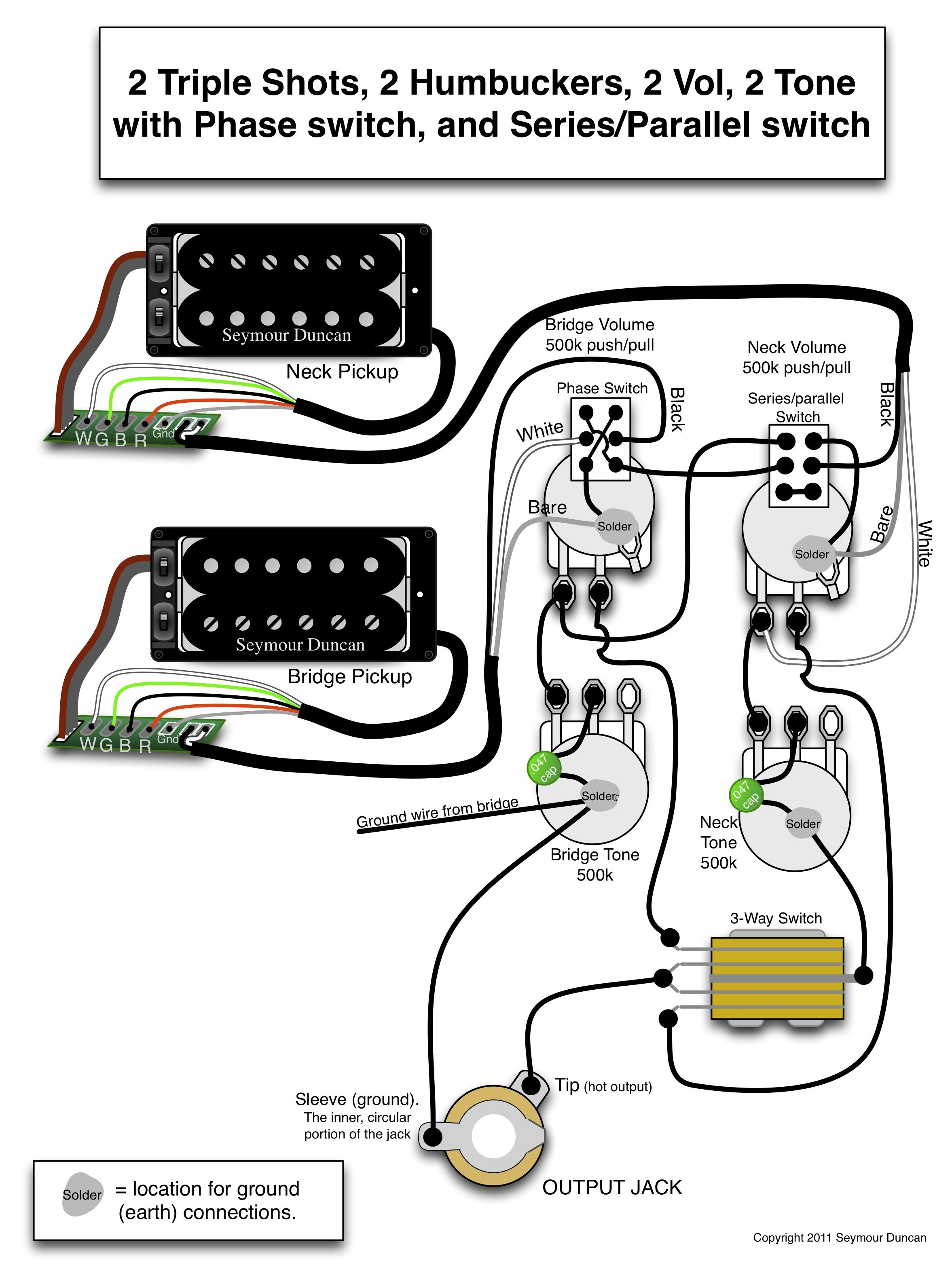 guitar wiring diagram 2 pickup 1 volume tone ethernet cable wire seymour duncan triple shots