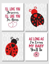 Ladybug Nursery Art, Baby Girl Nursery, Kids Wall Art, I ...