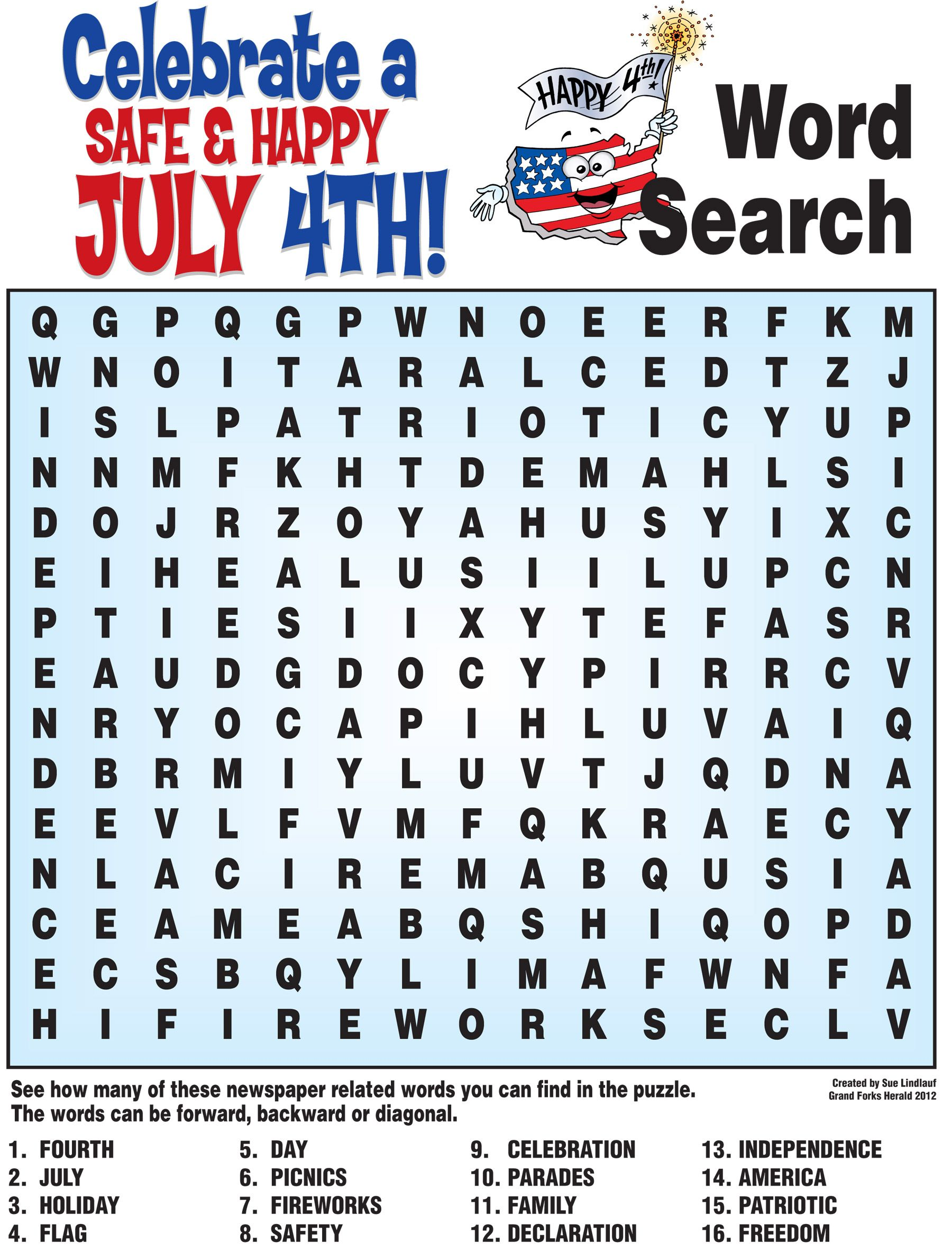 July 4 Word Search