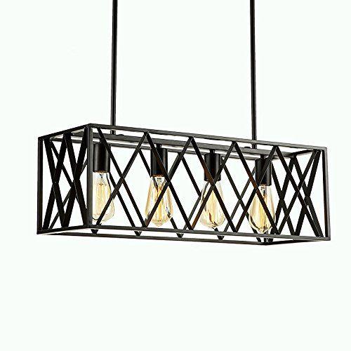 Efinehome Efine Vintage Lighting 4 Lights Edison Retro Rustic Metal Black Rectangle Chandelier For Kitchen