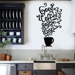 Cafe Themed Kitchen Decor Small Pendant Lights For Vinyl Wall Decal Quote Coffee Shop Restaurant