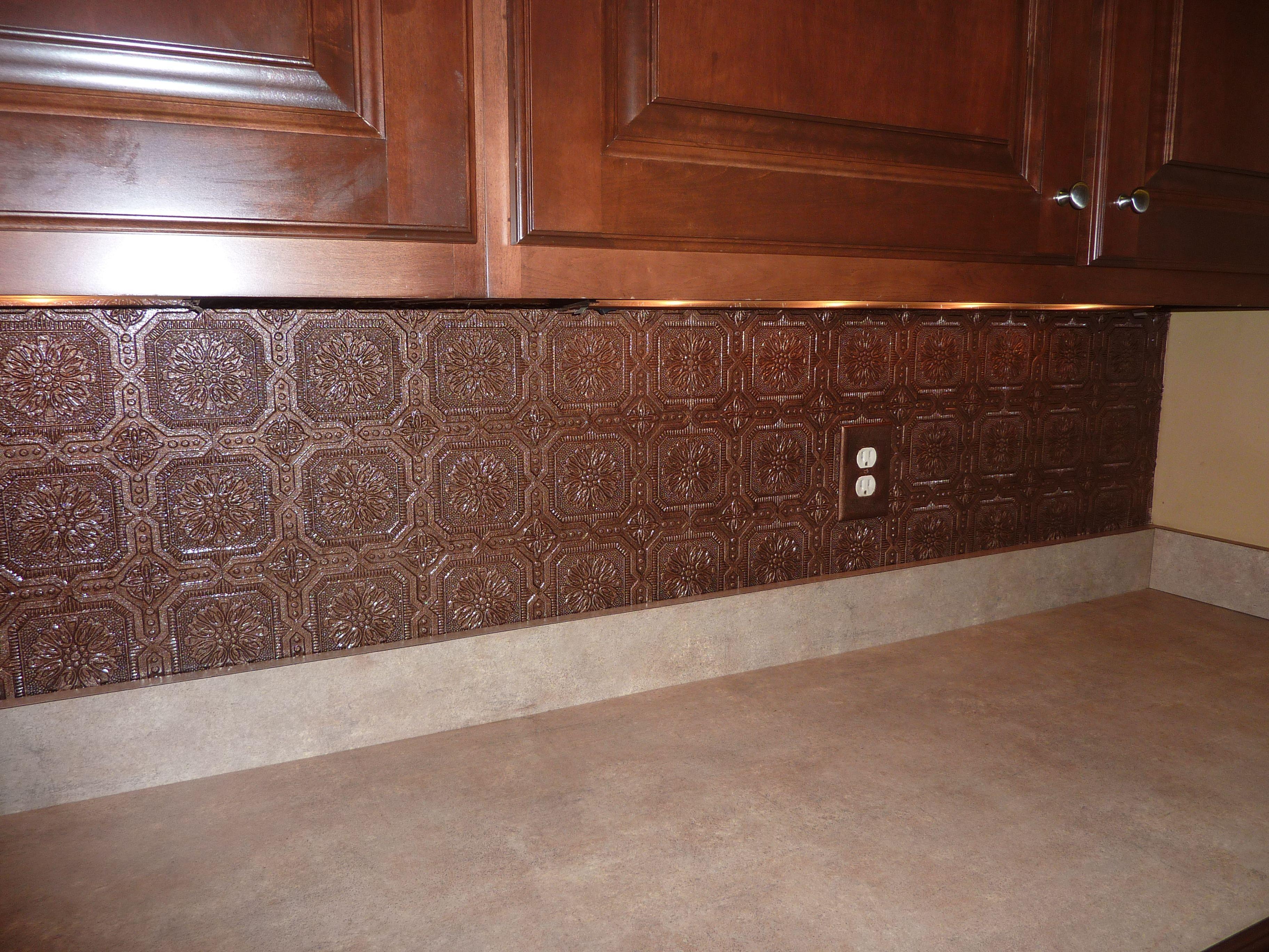 vinyl wallpaper kitchen backsplash farmhouse lighting textured painted with aged copper
