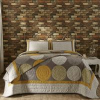 Designer modern gray yellow large circles queen king quilt ...