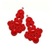 Red chandelier earrings, soutache jewellery. Red beading ...