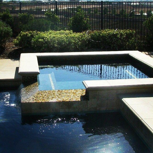 Spa with glass tiles on infinity edge spillover montecitodesignnet montecitooutdoordesign