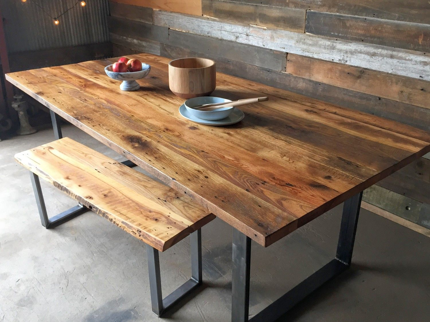Industrial Modern Dining Table  UShaped Metal Legs