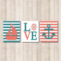 Nautical Nursery Wall Art Coral Teal Sailboat by