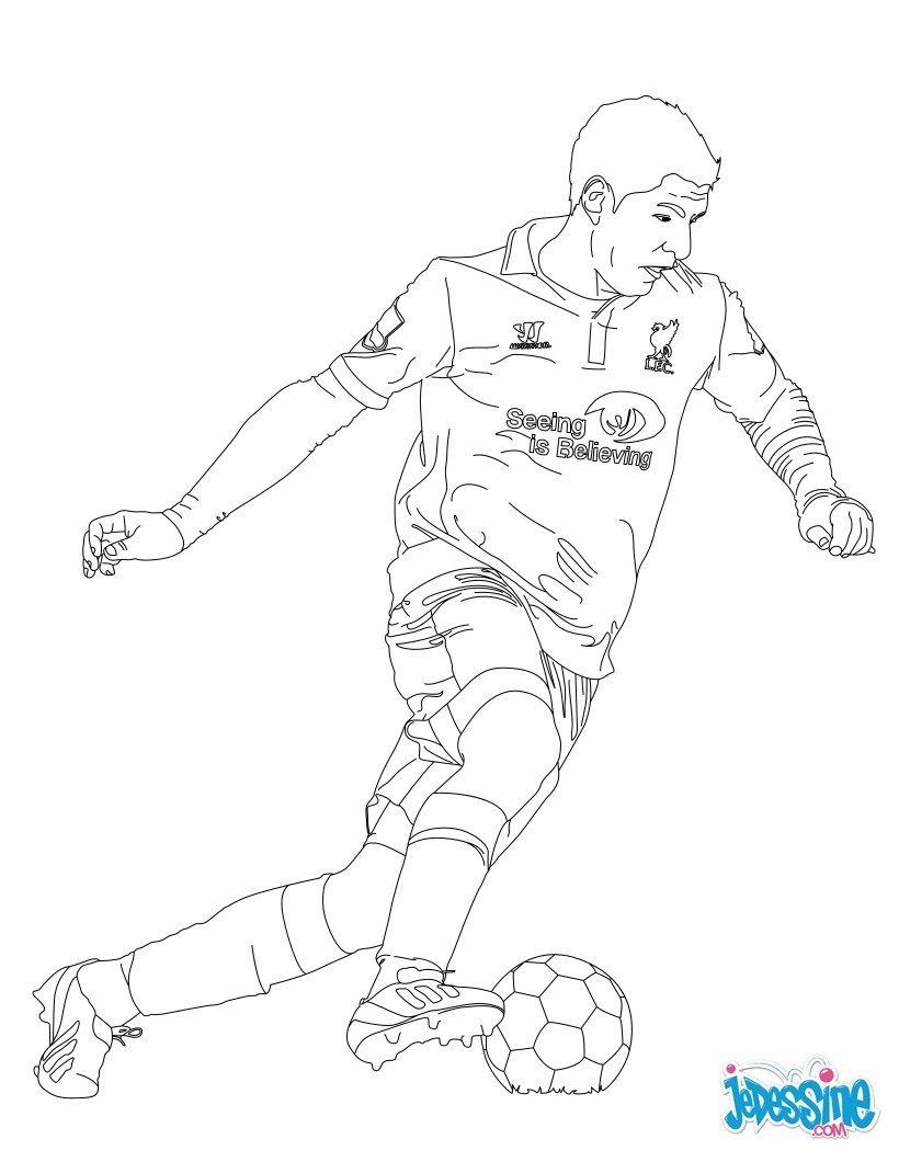 Coloriage Du Joueur De Foot Luis Suarez Imprimer Gratuitement Ou Colorier En Ligne Sur