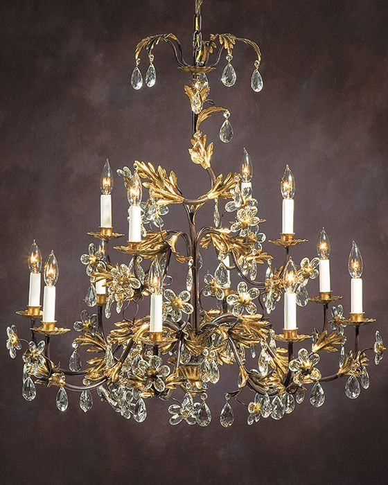 Chandeliers Hand Wrought Iron Chandelier With Italian Glass Flowers And Drops