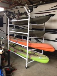 Homemade PVC kayak rack , can store 4 kayaks,paddles