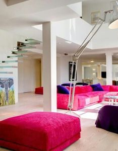 Apartment design purple sofas and pink in open living small staircase as lamp dos architects westbourne church gorgeous new loft inside also home sweet pinterest rh