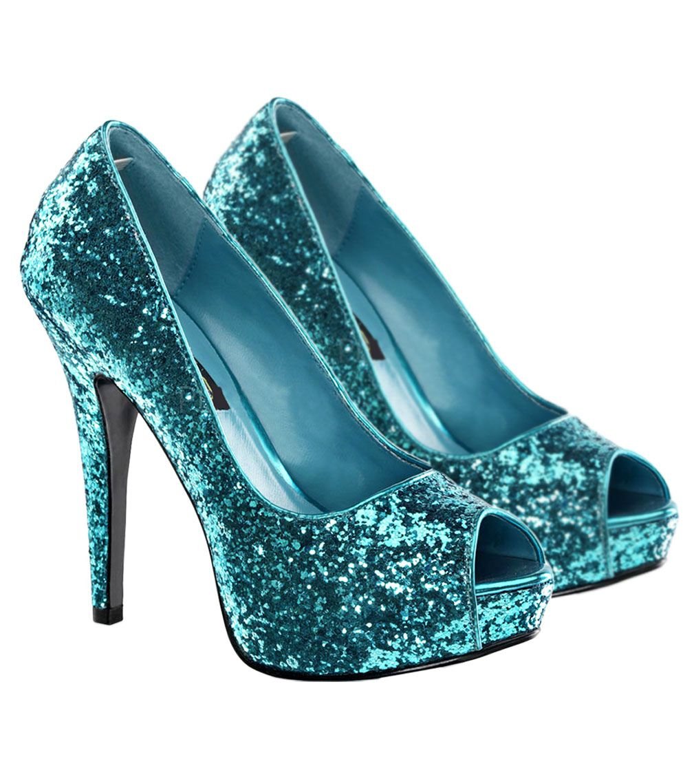Turquoise  Womens Turquoise Glitter Twinkle Shoes
