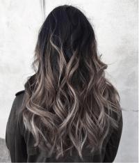 Grey ombr hair colour and highlights Long hair styles ...