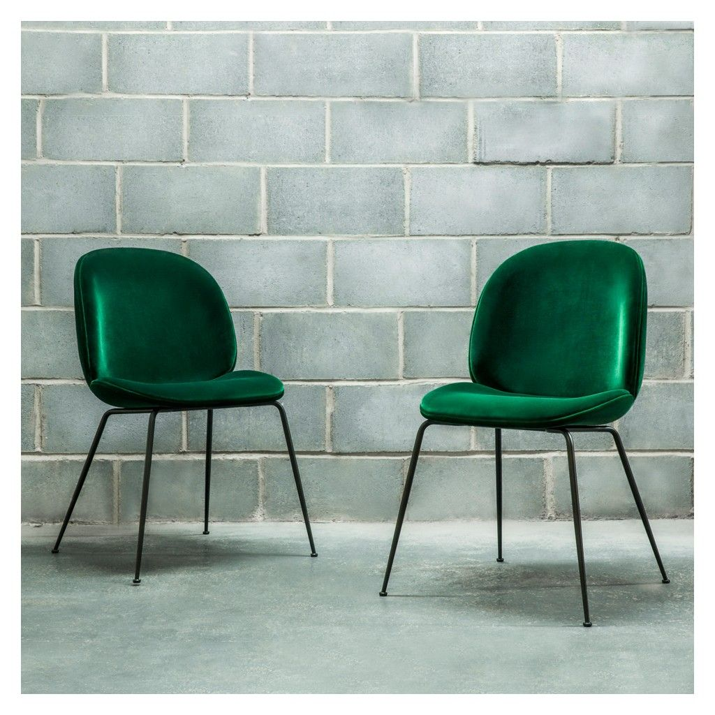 Green Velvet Dining Chairs Beetle Dining Chair Green Velvet With Black Legs Dining