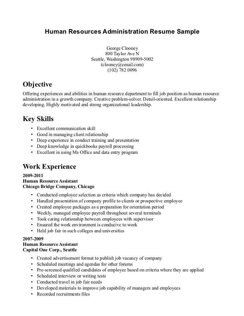 Hr ONE PAGE Resume Examples Yahoo Image Search Results HR