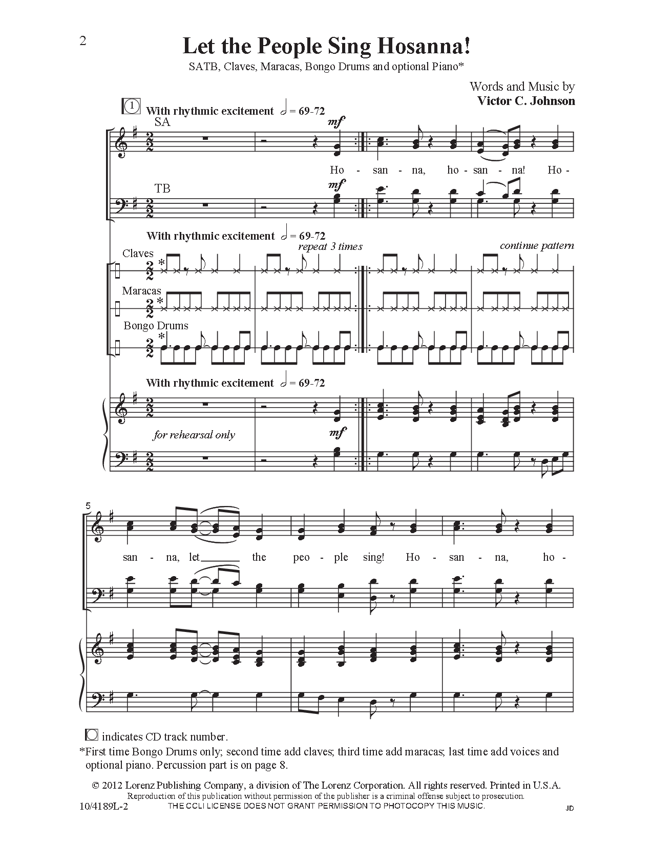 Let The People Sing Hosanna Satb By Vict