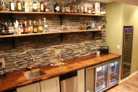 Walk up style wet bar featuring reclaimed rail car floor
