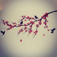 Sakura cherry blossom black red bird tree branch wall ...