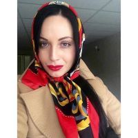Classic head scarf tied under chin   silk scarves ...