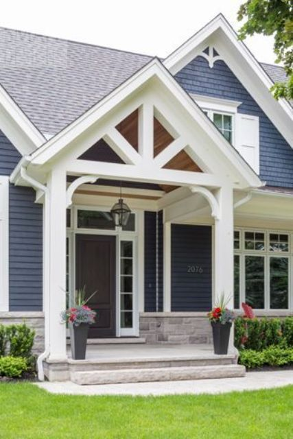 Front Gable Roof That Overs A Porch For The Home Exterior And