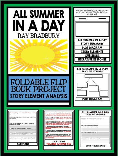 All summer in a day plot diagram answers holliddays all summer in a day by ray bradbury short story foldable flip book ccuart Images