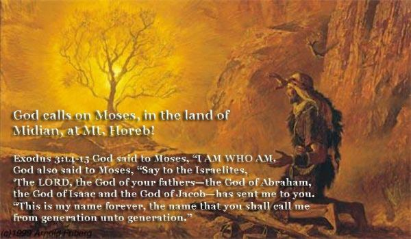 """Image result for Moses at the Burning Bush and God revealing Himself as """"I Am"""" (Exodus 3:14,15)"""