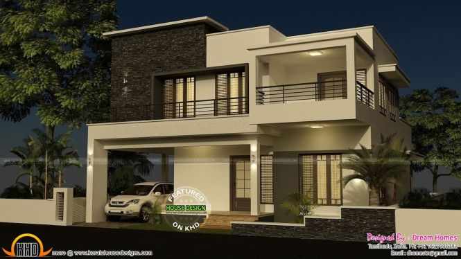 This Modern Double Floor Flat Roof Home Has Total Area Of 2203 Square Feet Meter Yards 4 Bedroom House