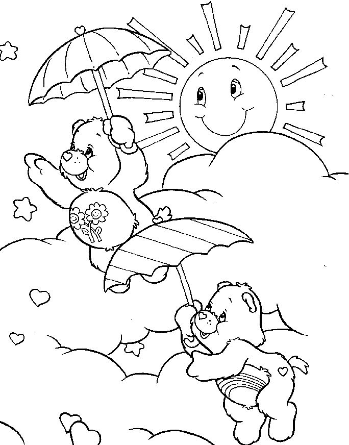 Care Bear Playing On A Sunny Day Coloring Pages