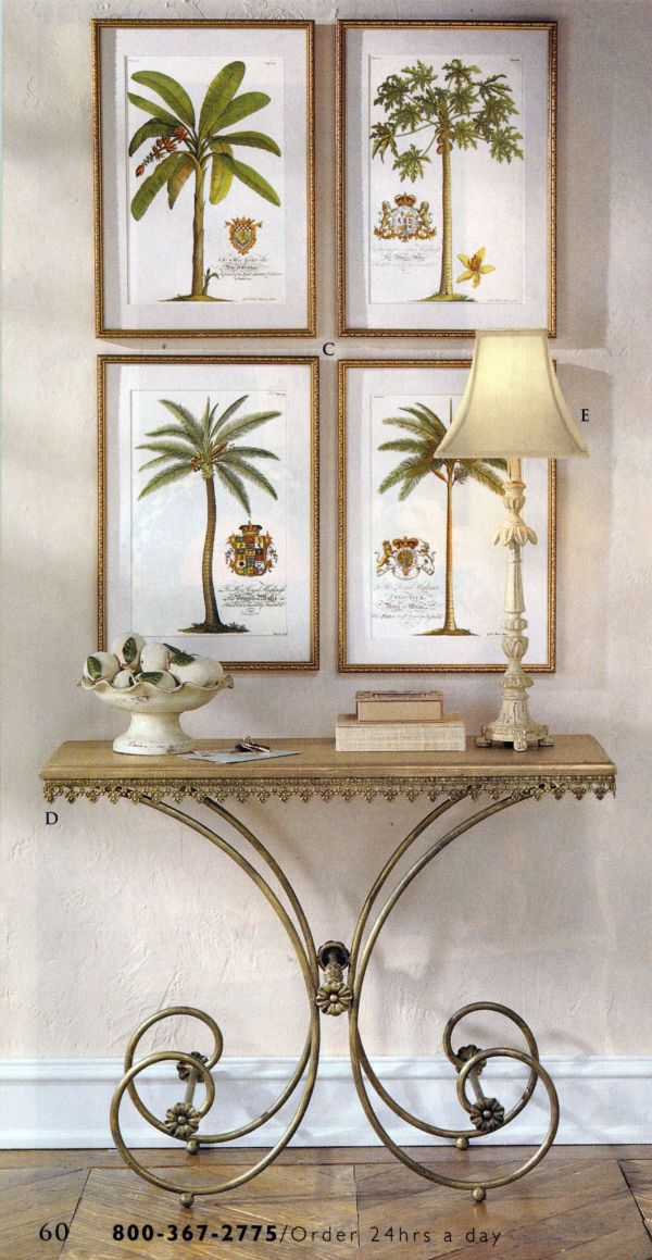 Set Of 4 Ehret Palm Tree Prints Hanging Over Console